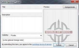 Mod publishing dialog