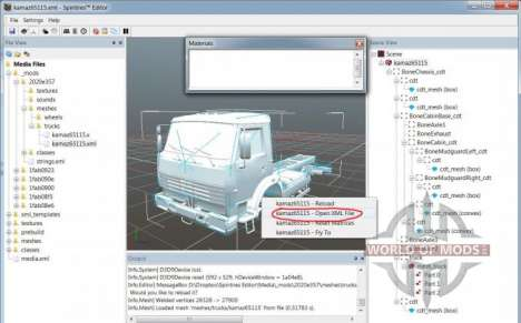 Mesh-file view in SpinTires Editor