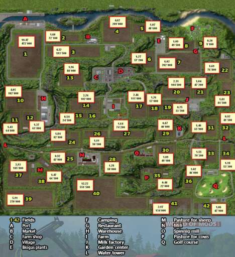 Detailed map of horseshoes locations in Farming Simulator 2013