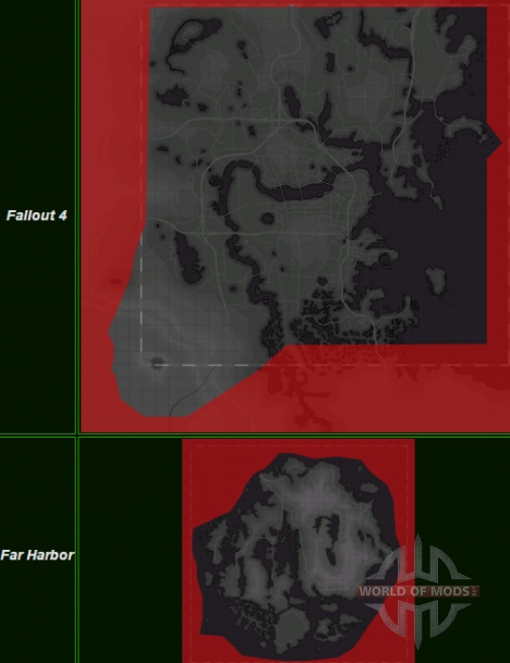 Fallout 4 and Far Hrabor maps comparing