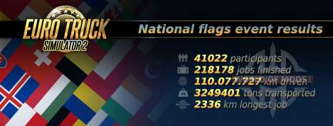 Statistics of the National Flags Event in Euro Truck Simulator 2