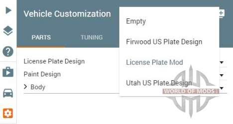Part selector menu in BeamNG Drive