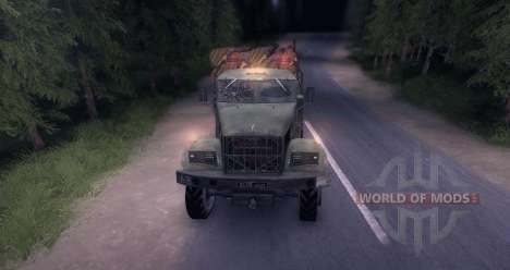 KrAZ timber truck snow old for Spin Tires