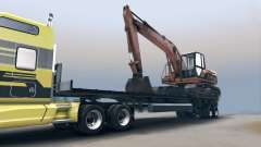Semitrailer with the excavator