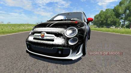 Fiat 500 Abarth White and Black for BeamNG Drive