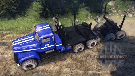 KrAZ-255B in blue color-KrAZ Power 8- for Spin Tires