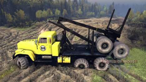 KrAZ-255B in a yellow color-KrAZ 88- for Spin Tires
