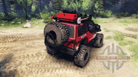 Jeep Cherokee XJ v1.1 Rough Country red dirty for Spin Tires