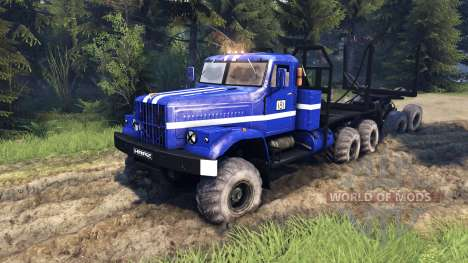 KrAZ-255B in blue color-KrAZ Power 8- for Spin Tires