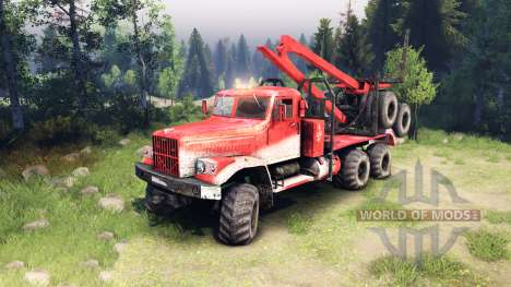 KrAZ-255 in the red color for Spin Tires