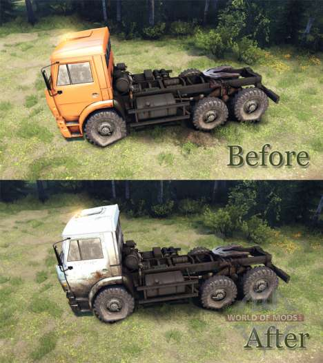 White-dirty color on KAMAZ-6520 for Spin Tires