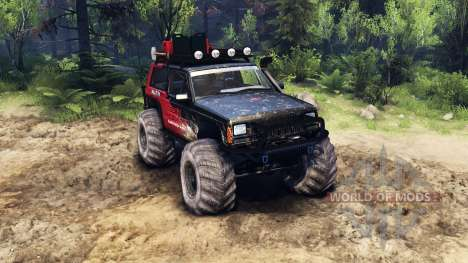 Jeep Cherokee XJ v1.3 Rough Country red dirty for Spin Tires