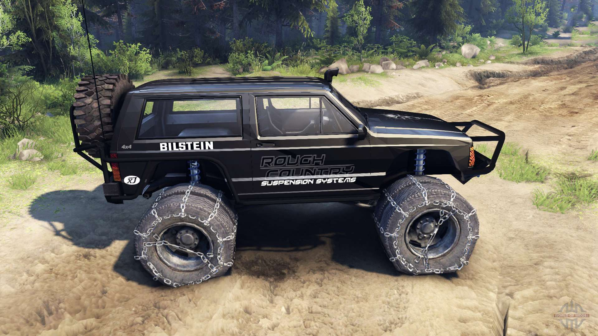 Jeep Cherokee Xj V1 3 Rough Country Black For Spin Tires