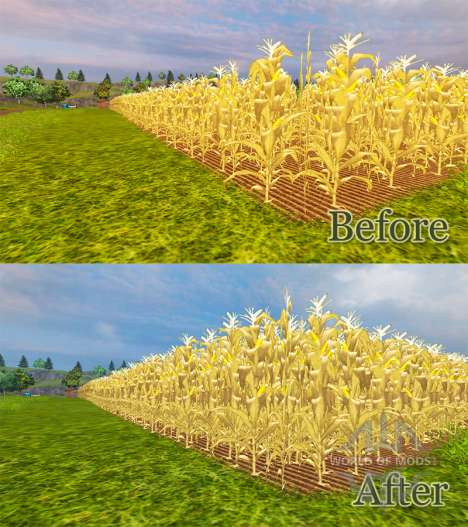 The increase in maize yield for Farming Simulator 2013