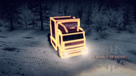 KamAZ 54112 eat Christmas with garlands for Spin Tires