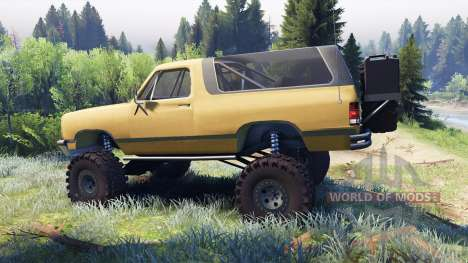 Dodge Ramcharger II 1991 dirty brown for Spin Tires