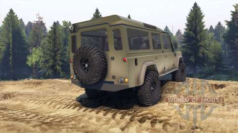 Land Rover Defender 110 dirty flat green for Spin Tires