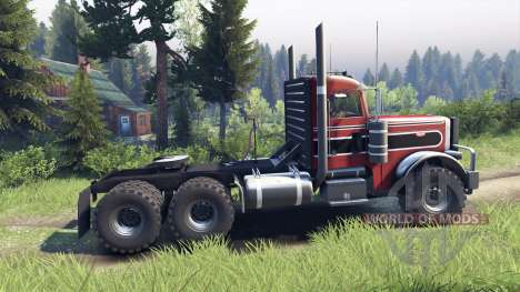 Peterbilt 379 red and black stripe for Spin Tires