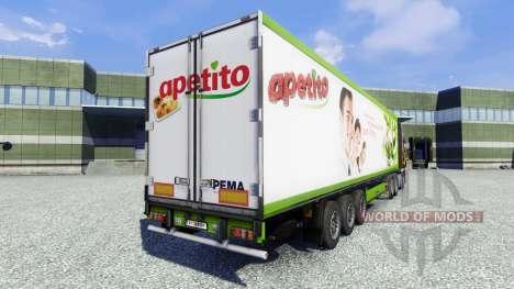 Skin Apetito on the trailer for Euro Truck Simulator 2