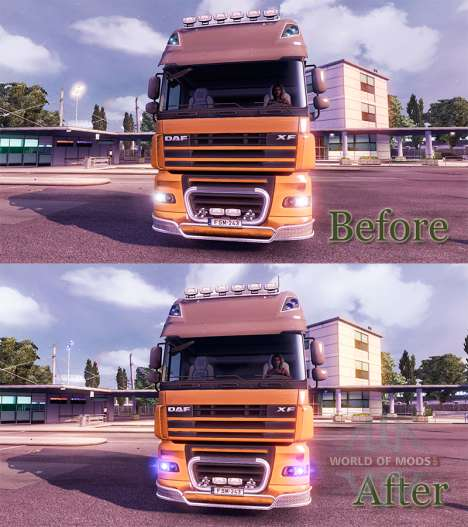 The blue glow of the headlights for Euro Truck Simulator 2