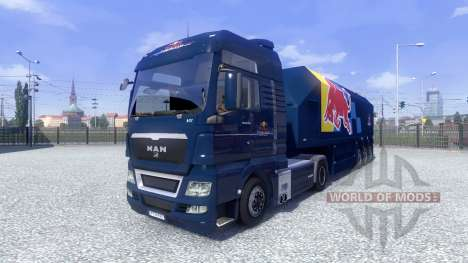 Skin Red Bull Racing Hochglanz on the truck MAN for Euro Truck Simulator 2
