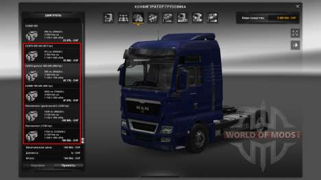 The engine for MAN truck for Euro Truck Simulator 2
