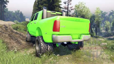 Dodge Ram 3500 dually v1.1 green for Spin Tires