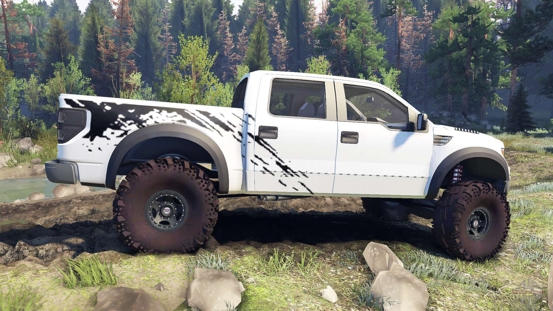 Ford Raptor SVT v1 2 factory white for Spin Tires