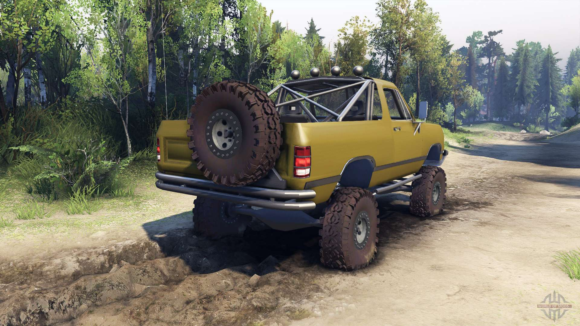 Dodge ramcharger 1991 open top v1 1 olive green for spin tires