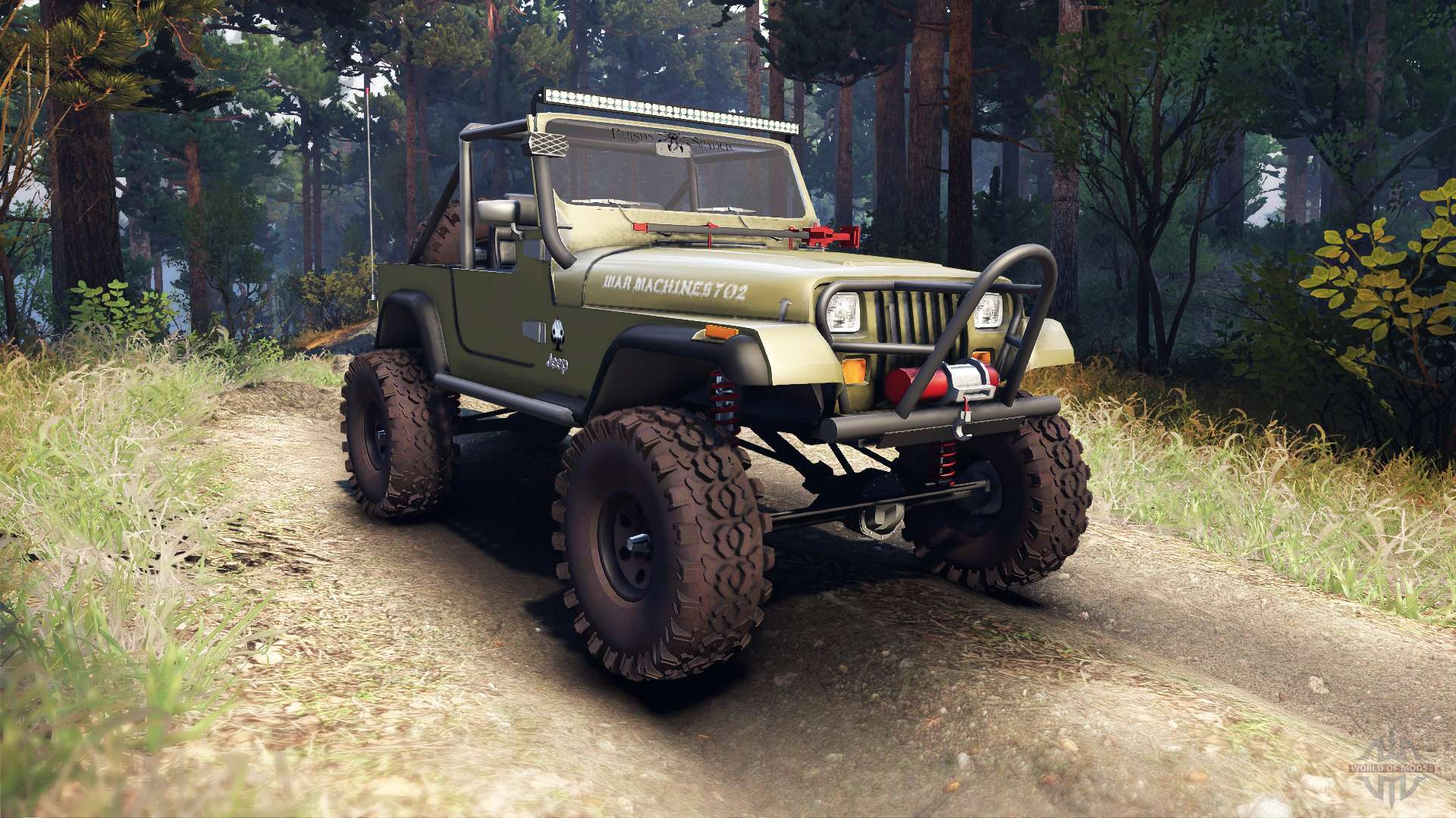 jeep yj 1987 open top green for spin tires. Black Bedroom Furniture Sets. Home Design Ideas