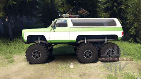 Chevrolet K5 Blazer 1975 6x6 green and white for Spin Tires