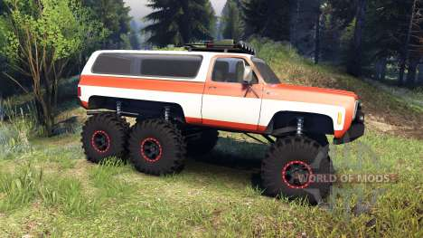 Chevrolet K5 Blazer 1975 6x6 orange and white for Spin Tires