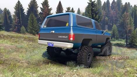 Chevrolet K5 Blazer 1975 blue and black for Spin Tires