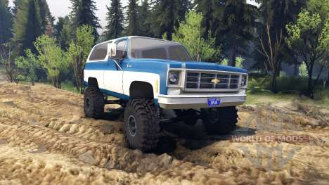 Chevrolet K5 Blazer 1975 blue and white for Spin Tires