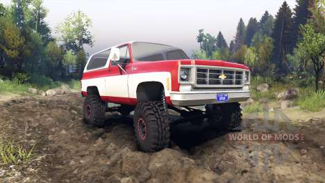 Chevrolet K5 Blazer 1975 red and white for Spin Tires