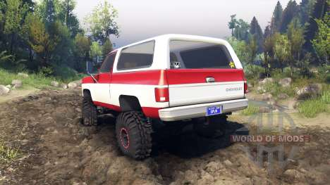 Chevrolet K5 Blazer 1975 red and white for Spin Tires