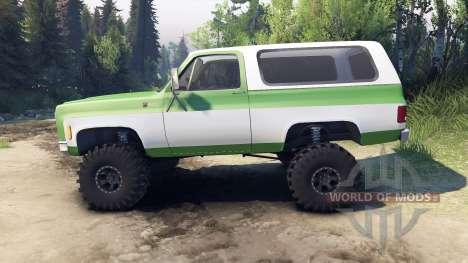 Chevrolet K5 Blazer 1975 green and white for Spin Tires