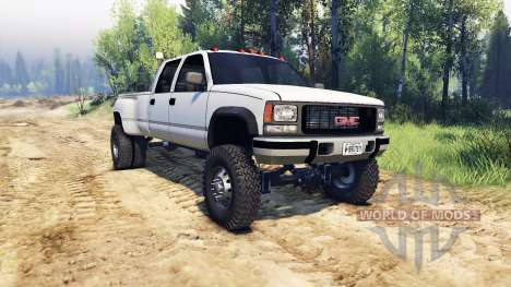 GMC Suburban 1995 Crew Cab Dually white for Spin Tires