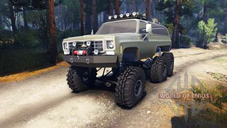 Chevrolet K5 Blazer 1975 Equipped 6x6 army green for Spin Tires