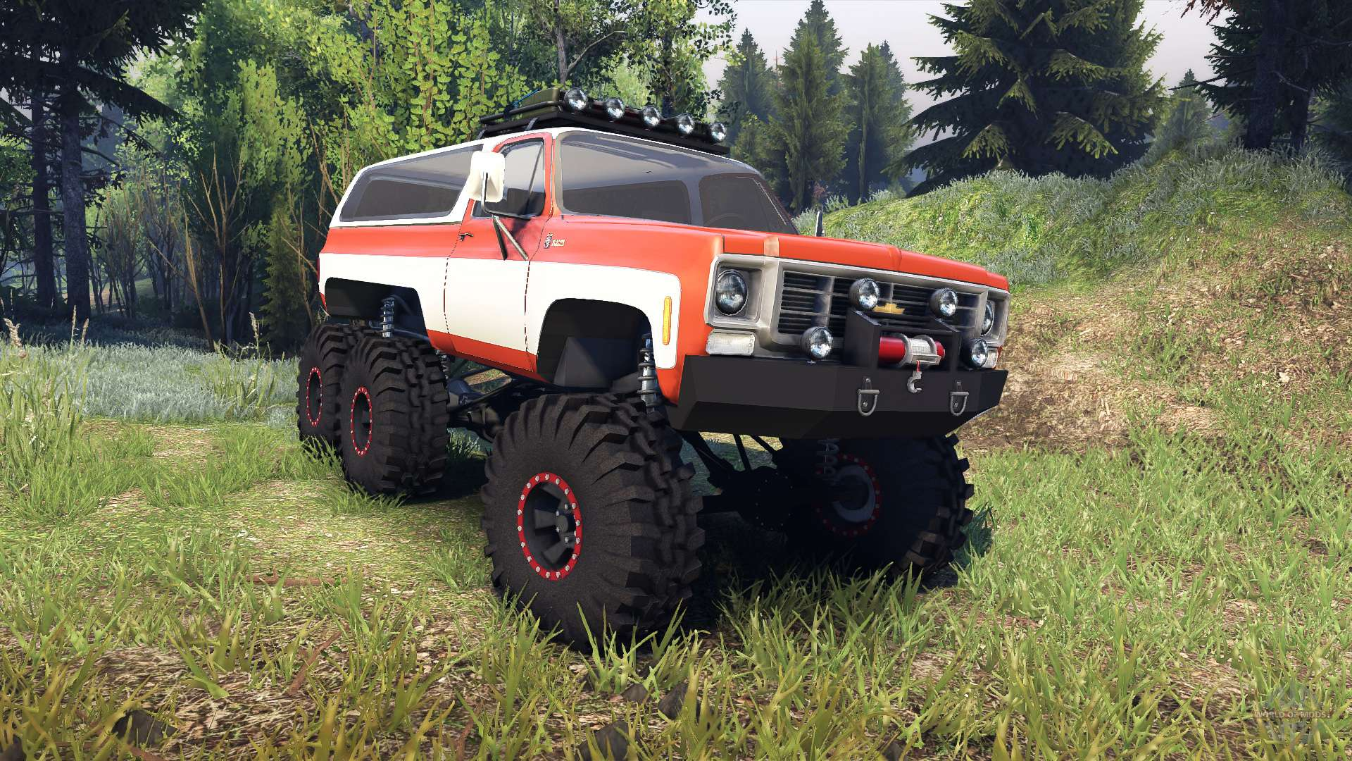 chevrolet k5 blazer 1975 6x6 orange and white for spin tires rh worldofmods com