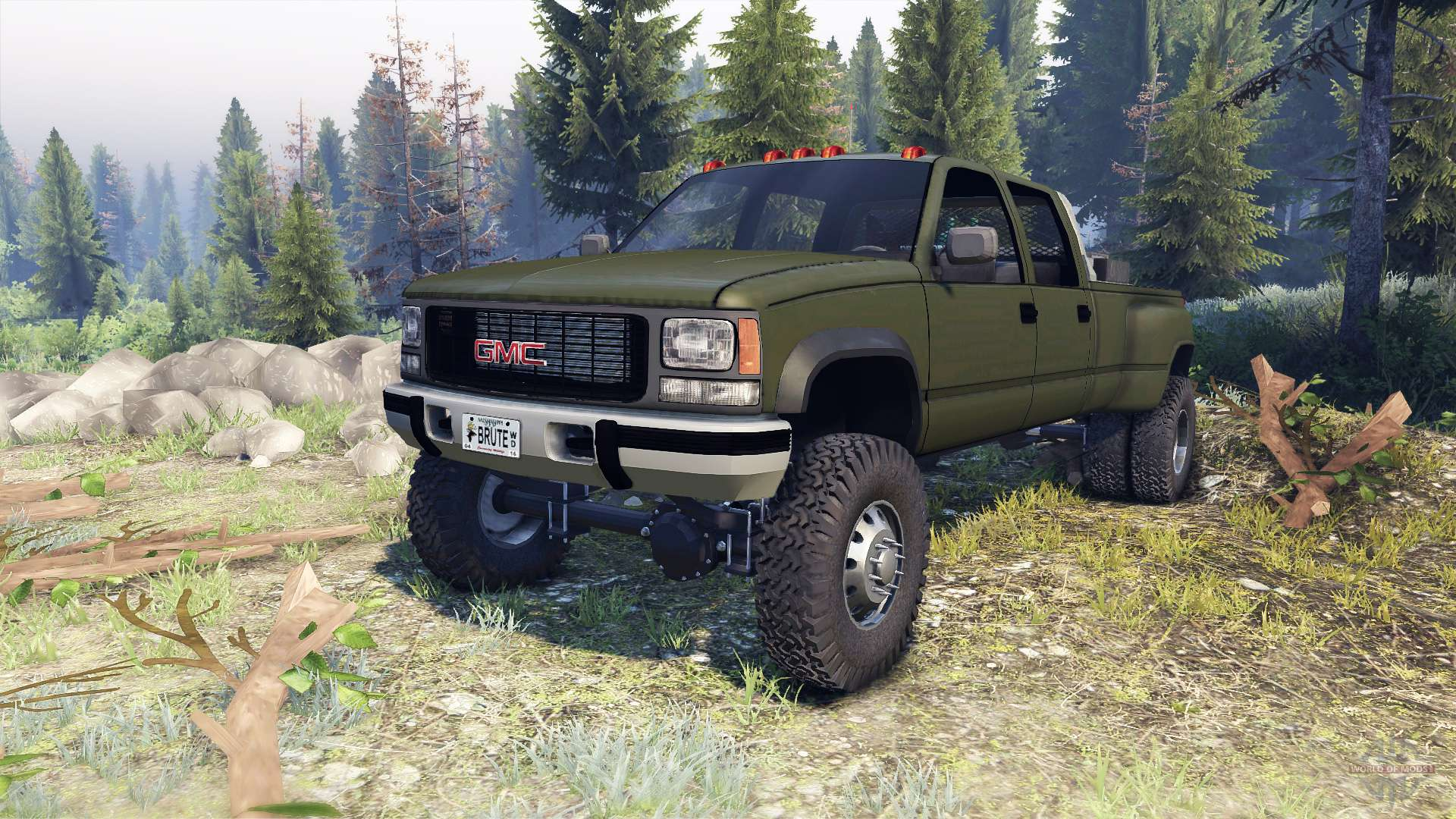 GMC Suburban 1995 Crew Cab Dually green for Spin Tires