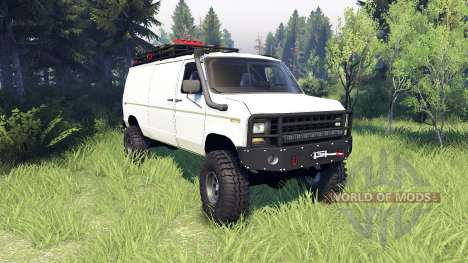 Ford E-350 Econoline 1990 v1.1 white for Spin Tires