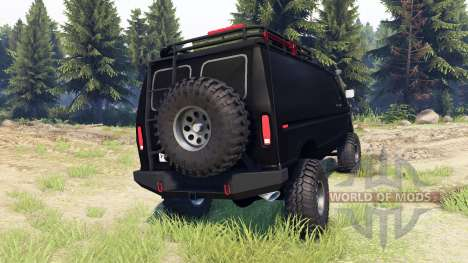 Ford E-350 Econoline 1990 v1.1 flat black for Spin Tires