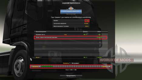 Mod on experience and money v1.2 for Euro Truck Simulator 2