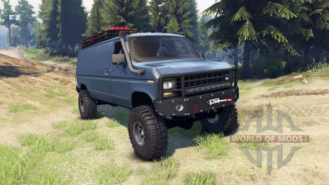 Ford E-350 Econoline 1990 v1.1 blue-gray for Spin Tires