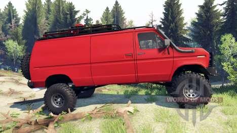 Ford E-350 Econoline 1990 v1.1 red for Spin Tires