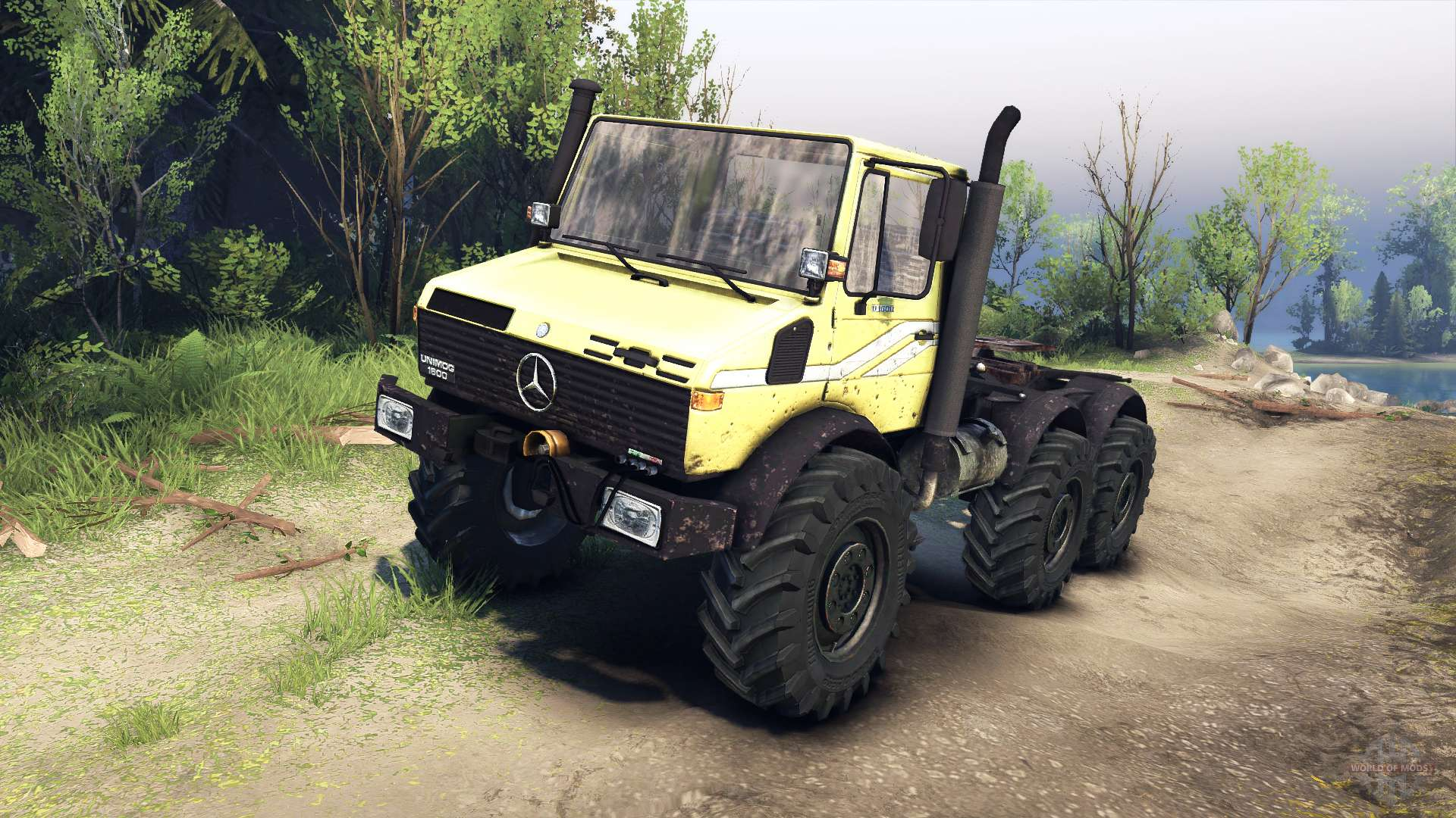 mercedes benz unimog u1500l 6 6 yellow for spin tires. Black Bedroom Furniture Sets. Home Design Ideas
