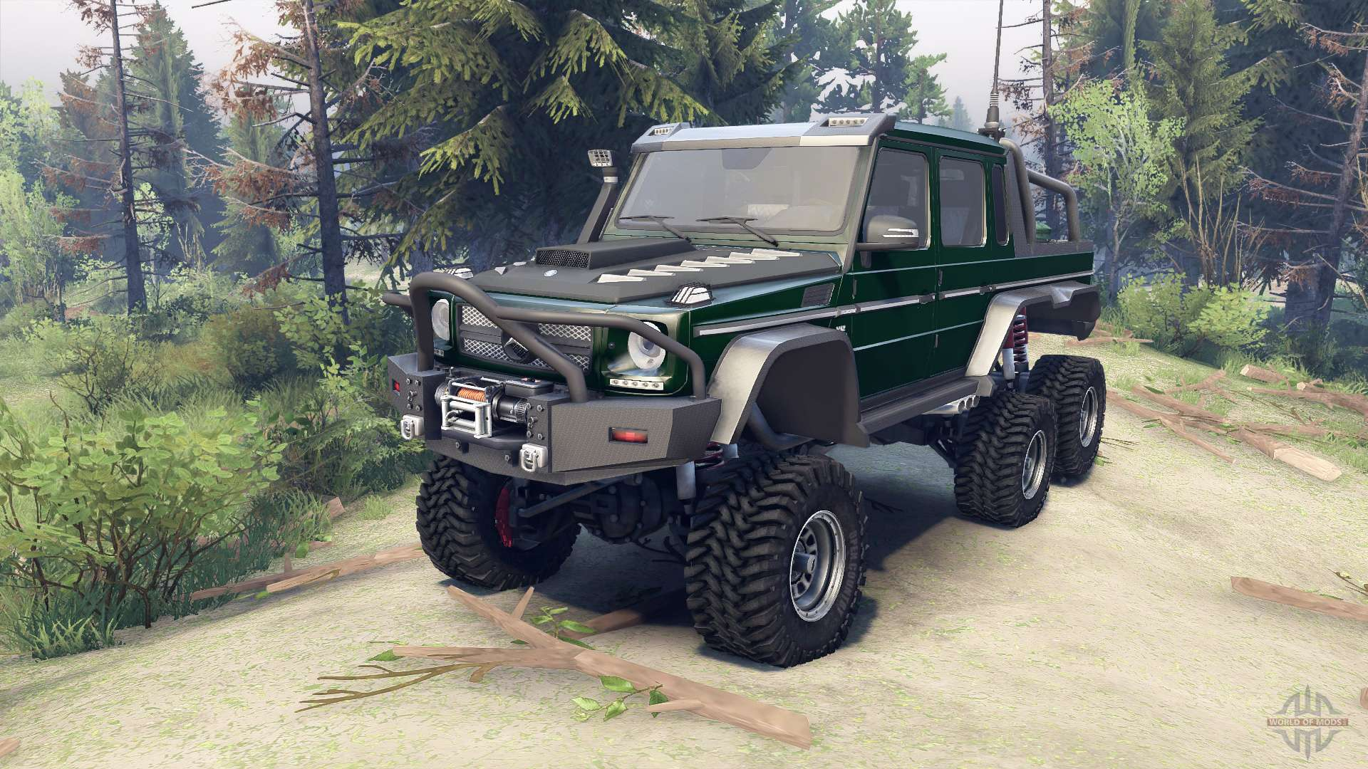 Mercedes-Benz G65 AMG 6x6 Final dark green for Spin Tires