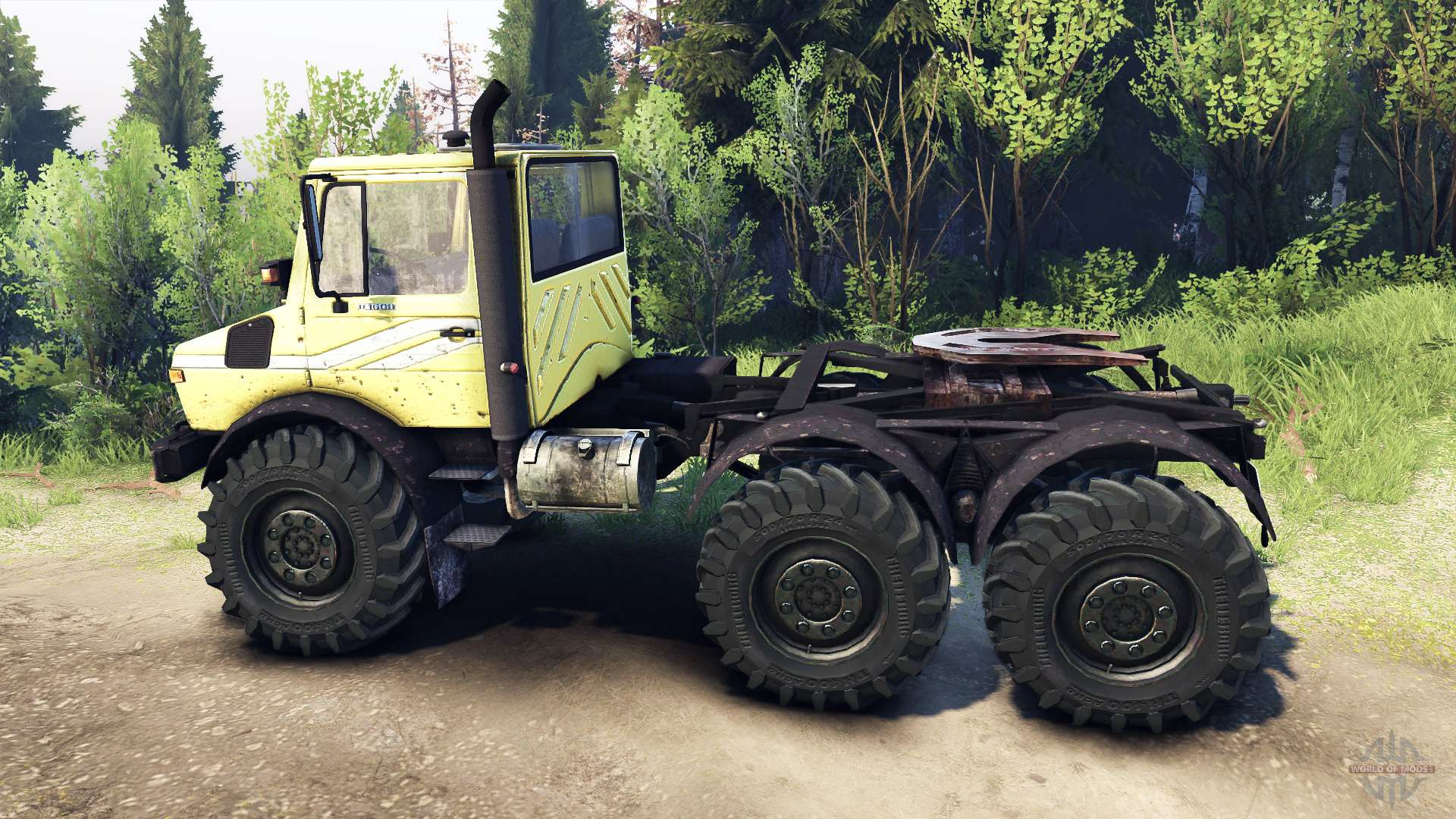 Mercedes Benz Unimog U1500l 6х6 Yellow For Spin Tires