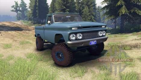 Chevrolet С-10 1966 Custom marina blue for Spin Tires